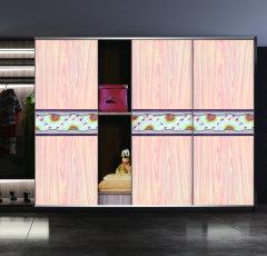阳光馨情  梦幻5D +超白+仿软包+浅木纹   平移门