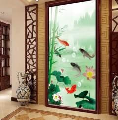 易玻玄关3 鱼  家和  竹子 彩色 砂雕