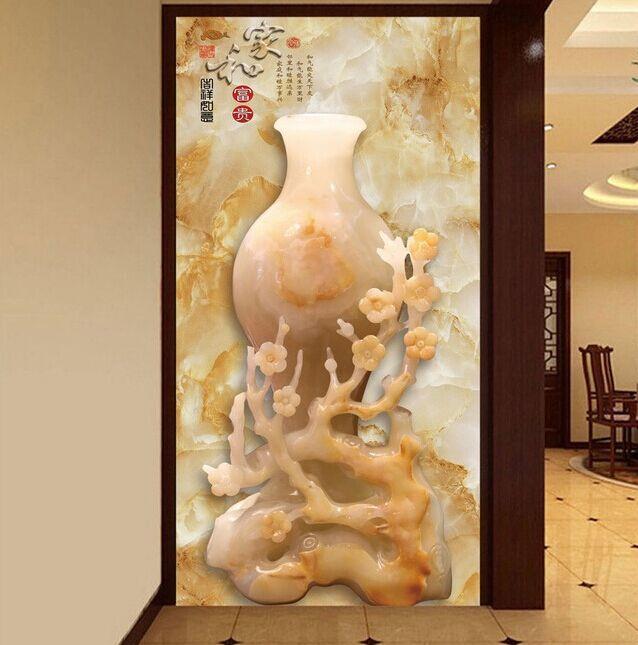 易玻玄关21 福,龙,牡丹 彩色 砂雕