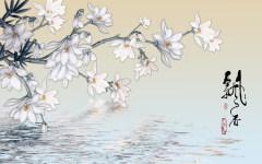 易玻背景墙14家和万事兴 玫瑰 梅花 彩色 热转印