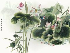 易玻背景墙6 荷花 牡丹 鱼花开富贵 彩色 热转印
