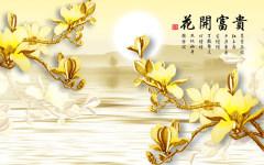 易玻背景墙8花开富贵牡丹 彩色 热转印