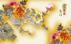 易玻背景墙4 牡丹 家和 山水 吉祥富贵 彩色 热转印