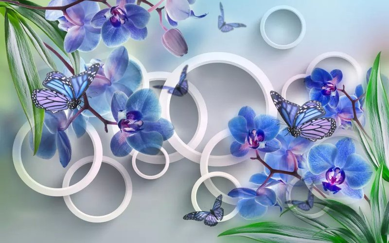 背景墙 梅花 玫瑰 蝴蝶 热转印