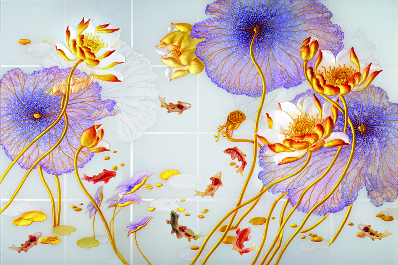 易玻背景墙8鸳鸯 鱼 玫瑰 彩色4
