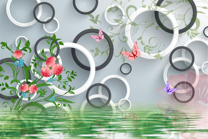 易玻背景墙8玫瑰 蝴蝶 彩色3