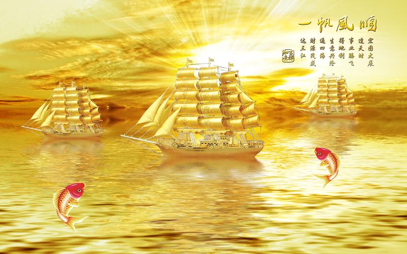 易玻背景墙10 一帆风顺 福 马蹄莲2