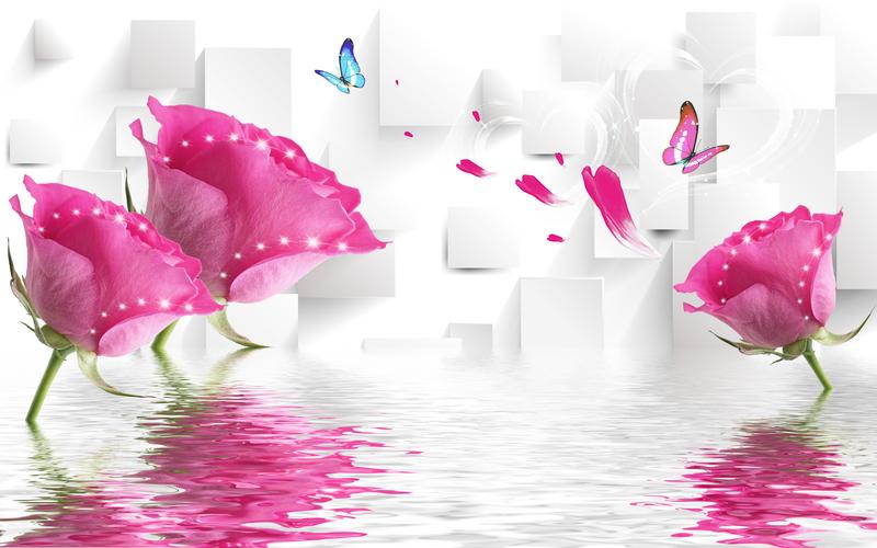 易玻背景墙12 蝴蝶 玫瑰2