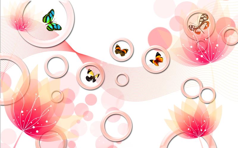 易玻背景墙12 蝴蝶 玫瑰3