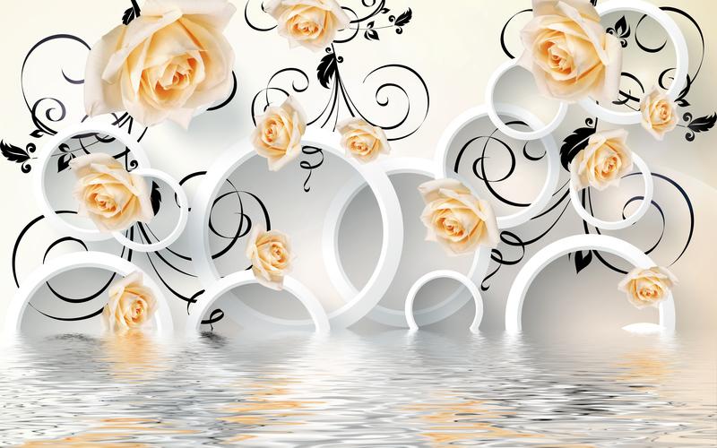易玻背景墙12 蝴蝶 玫瑰4